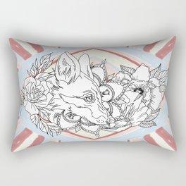 Floral Fox Rectangular Pillow