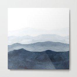 Indigo Abstract Watercolor Mountains Metal Print