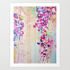 DANCE OF THE SAKURA - Lovely Floral Abstract Japanese Cherry Blossoms Painting, Feminine Peach Blue  Art Print