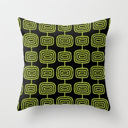 Mid Century Modern Atomic Rings Pattern Black and Chartreuse Throw Pillow