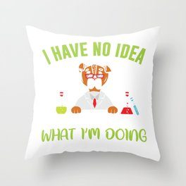 Dog Scientist Funny Animal Pun Chemist Throw Pillow