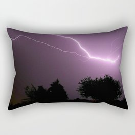 Purple Lightning Night Sky Rectangular Pillow