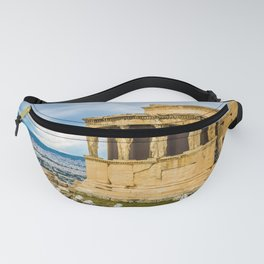 ruins of ancient temple on Acropolis hill, greece Fanny Pack