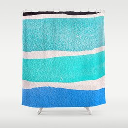 Bright Blue Sea Ribbons Shower Curtain