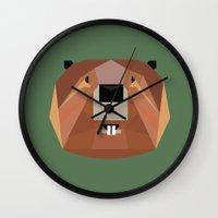 beaver Wall Clocks featuring Beaver by Alysha Dawn