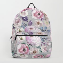 Hand painted blush pink gray violet watercolor roses floral Backpack