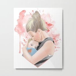 Mother babywearing a blonde toddler boy //watercolor illustration for attachment parenting Metal Print