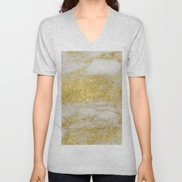 Marble - Glittery Gold Marble and White Pattern Unisex V-Neck