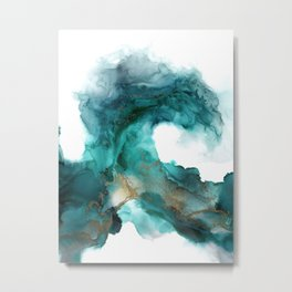 Wild Wave - alcohol ink painting, abstract wave, fluid art, teal, gold colored accents Metal Print