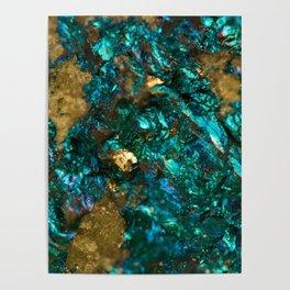 Teal Oil Slick and Gold Quartz Poster