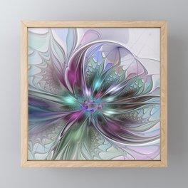 Colorful Fantasy Abstract Modern Fractal Flower Framed Mini Art Print