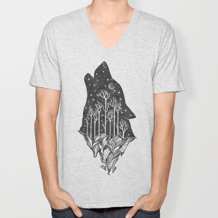 Adventure Wolf - Nature Mountains Wolves Howling Design Black on Pale Pink Unisex V-Neck