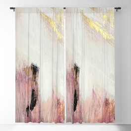 Sunrise [2]: a bright, colorful abstract piece in pink, gold, black,and white Blackout Curtain