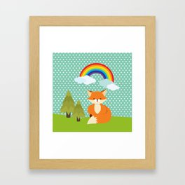 Fox, Rainbow , nursery decor , children gift, birthday gift Framed Art Print