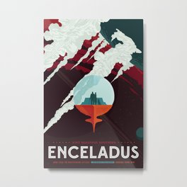 NASA Retro Space Travel Poster #3 - Enceladus Metal Print