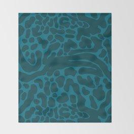 King Cheetah Print in Emerald Teal Throw Blanket