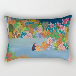 Moonlight Swimming Girl Rectangular Pillow