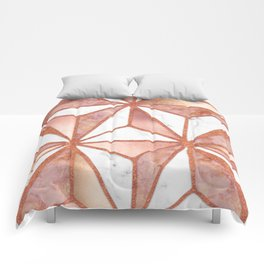 Rose Gold Marble Geometric Abstract Comforters