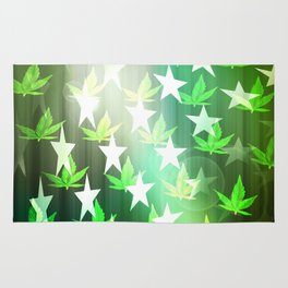 Patriotic Stars and Cannabis Design Rug