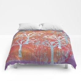 orange dot tree forest Comforters