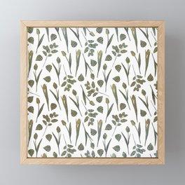Elegant mauve green faux gold floral pattern Framed Mini Art Print