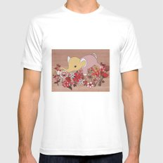 Elephant in the flowers MEDIUM Mens Fitted Tee White