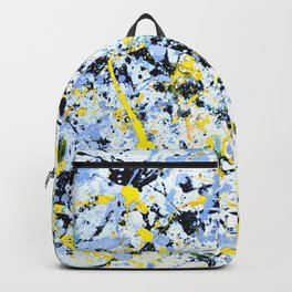 Abstract in Blue, Yellow and Black Backpack