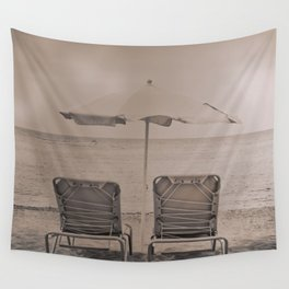 The loneliness of the deck chairs - La soledad de las tumbonas Wall Tapestry