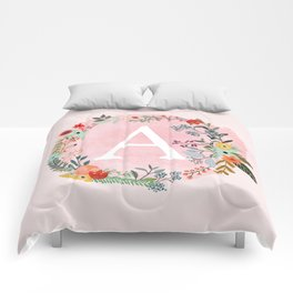 Flower Wreath with Personalized Monogram Initial Letter A on Pink Watercolor Paper Texture Artwork Comforters