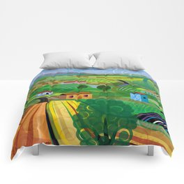 Santa Barbara Wine and Cheese (Square) Comforters