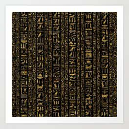 Egyptian hieroglyphs vintage gold on black Art Print