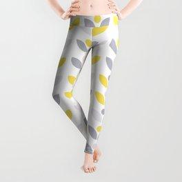 Yellow and Grey Abstract Flower Pattern #society6 #decor #buyart #artprint Leggings