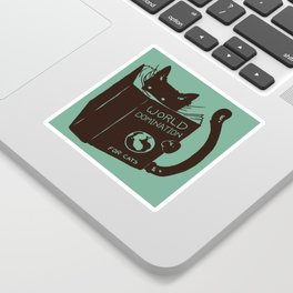World Domination for Cats (Green) Sticker