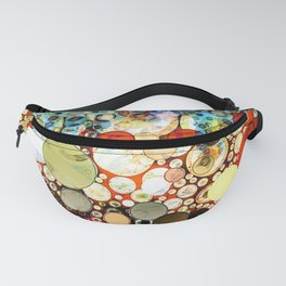 Contemporary Blue Orange Bubble Abstract Fanny Pack
