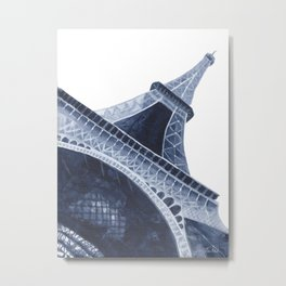 Bleu Eiffel Tower Metal Print