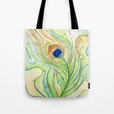 Peacock Feather Green Texture and Bubbles Tote Bag