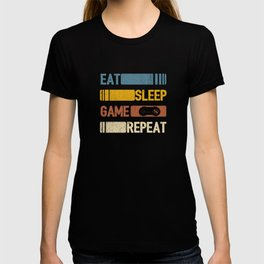 Video Game Eat Sleep Game Repeat Funny Vintage Retro Distressed Styled Unisex Shirt T-shirt