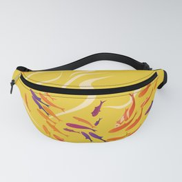 Sea fish collection. Colored silhouettes school of fish. Fanny Pack