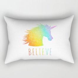 Believe  |  Rainbow Glitter Unicorn Rectangular Pillow