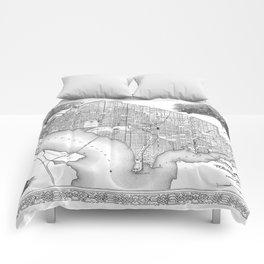 Vintage Map of Washington D.C. (1866) BW Comforters