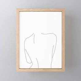 Nude back line drawing illustration - Drew Framed Mini Art Print