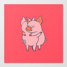 Pig Hugs Canvas Print
