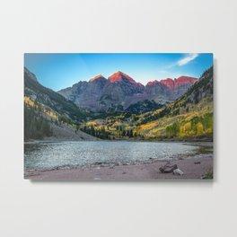 Maroon Bells Morning - Sunrise and Autumn Color near Aspen, Colorado Metal Print