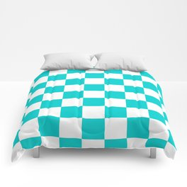 Checkered - White and Cyan Comforters