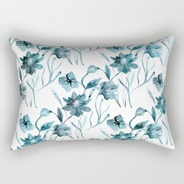 Blue, white floral pattern. Rectangular Pillow