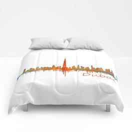 Dubai, emirates, City Cityscape Skyline watercolor art v2 Comforters