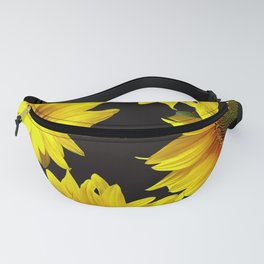 Large Sunflowers on a black background - #Society6 #buyart Fanny Pack