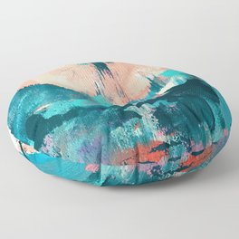 Sugar: a fun, minimal mixed-media abstract piece in pinks and blues Floor Pillow