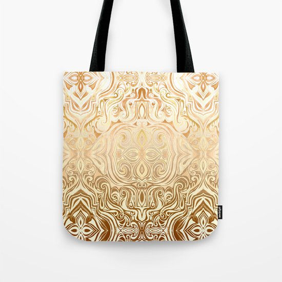 Tribal Swirl Pattern in Neutral Tan and Cream Tote Bag