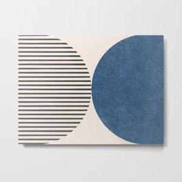 Semicircle Stripes - Blue Metal Print